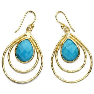 Ashiana Teardrop Hoop Earrings - Turquoise