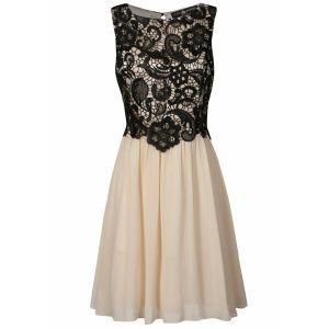Little Mistress Women's Lace Overlay Prom Dress - Black/Cream