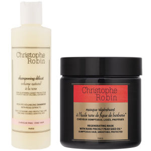 Christophe Robin Regenerating Mask with Rare Prickly Pear Seed Oil (250 ml) and Delicate Volumizing Shampoo with Rose Extracts