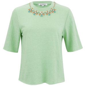 Glamorous Women's Statement Necklace T-Shirt Jumper - Mint
