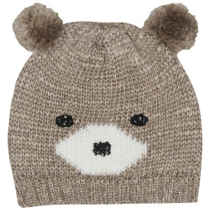 Women's Bear Knit Beanie - Chocolate/Natural