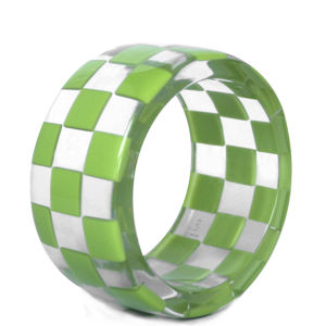 Anna Lou of London Checkerboard Bangle - Lime Green