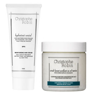 Christophe Robin Cleansing Purifying Sea Salt -kuorinta-aine (250ml) ja kosteuttava hiusnaamio (100ml)