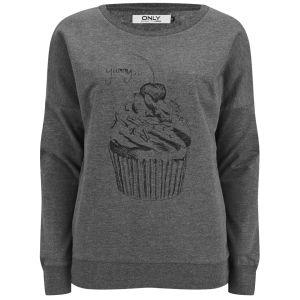 ONLY Women's Cupcake Sweatshirt - Grey