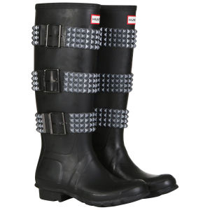 Hunter Women's Festival Stud Tall Wellies - Black/Gunmetal