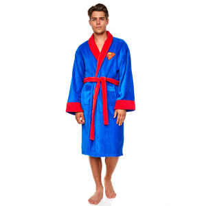 DC Comics Adult Fleece Bathrobe with Superman Logo - Blue (One Size)
