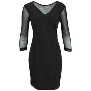 Vero Moda Women's Elif Sheer Sleeve Dress - Black