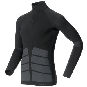 Odlo Men's Evolution Warm Long Sleeve 1/2 Zip Base Layer - Black