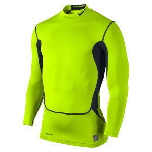 Nike Men's Hyperwarm Dri Fit Compression Mock Top - Volt Green