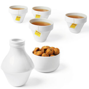 With Milk Jar Four Cups and Bowl