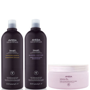 Aveda Invati Shampoo og Conditioner 1000 ml med Stress Fix Body Cream