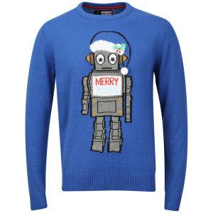 Christmas Branding Robot Knitted Jumper - Ocean