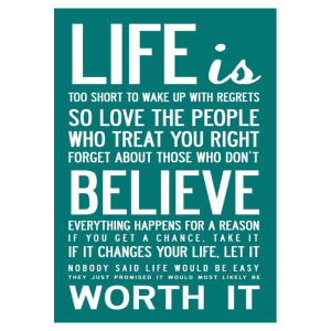 I Love Design 'Life' Canvas - Teal