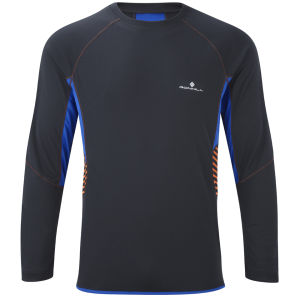 RonHill Men's Advance Long Sleeve Crew T-Shirt - Black/Ultramarine