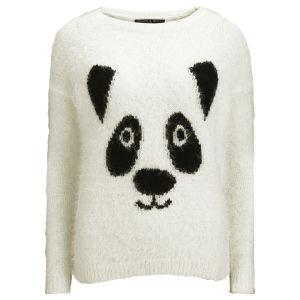 Love Knitwear Women's Tinsel Panda Christmas Jumper - White