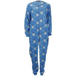 Tom Franks Women's Micro Fleece Printed Onesie - Penguin Blue