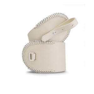 French Connection Women's Briony Whipstitch Leather Waist Belt - Cream