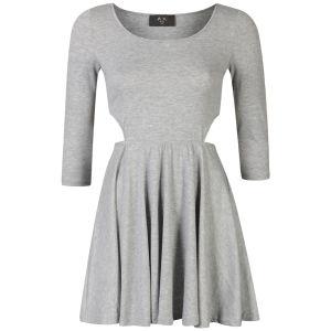 AX Paris Women's Cut Out Long Sleeve Skater Dress - Grey