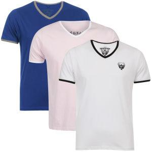 Ringspun Men's 3-Pack Silva Short Sleeve V-Neck T-Shirt - Blue/White/Pink