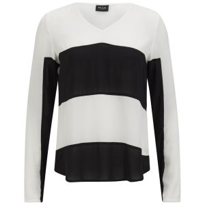 VILA Women's Look Striped Jumper - Snow White