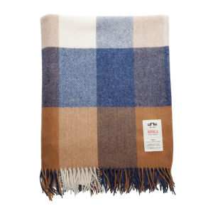 Avoca Lambswool WR81 Throw (142 x 100cm) - Blue/Brown/Cream