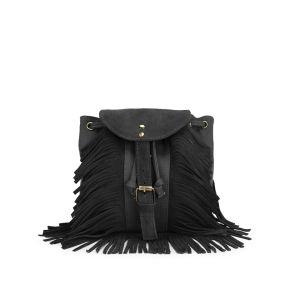 Street Level Fringe Cross Body Bag - Black