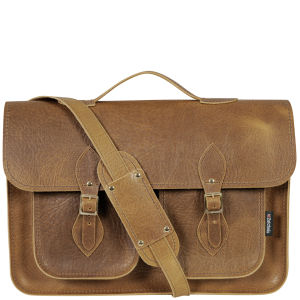 Zatchels 16 Inch Executive Leather Satchel - Tan