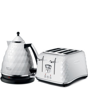De'Longhi Brilliante 4 Slice Toaster and Kettle Bundle - White