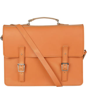 Brit-Stitch Leather Laptop Bag - Caramel