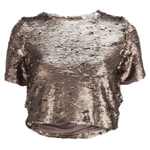 Lavish Alice Women's Rose Gold Sequin Crop Top - Gold
