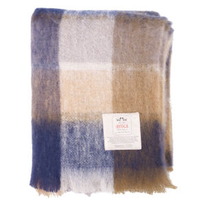 Avoca Mohair M50 Throw (142 x 100cm) - Blue/Brown/Cream