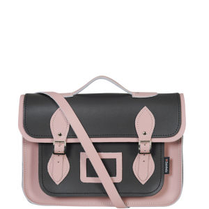 Zatchels 13 Inch Harmony Leather Satchel with Handle - Graphite/Pink