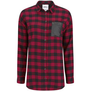 ONLY Women's Joy Tartan Shirt - Red