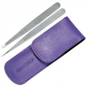 Tweezerman Petite Tweeze Set i skinnveske - Lavendel