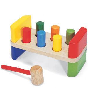 Pintoy 6 Peg Wooden Hammer Bench