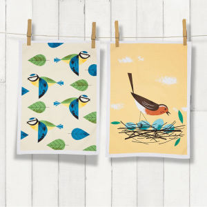 Birdy Tea Towel 2-Pack Blue Tit/Robin