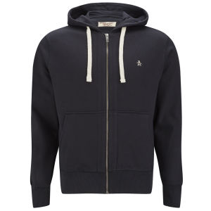 Original Penguin Men's Zip Through Hoody - Dark Charcoal Heather