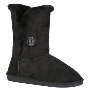 Red Rock Women's Ugg Style Faux Sheepskin Boots - Black