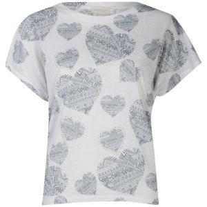 Nova Women's Aztec Heart Oversize T-Shirt - White