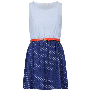 Influence Women's Chambray Spotted Belted Skater Dress - Blue