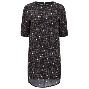 Neon Rose Women's Cocoon Space Print Dress - Multi