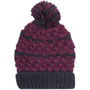 Women's Two Tone Bobble Knit Beanie - Navy & Purple