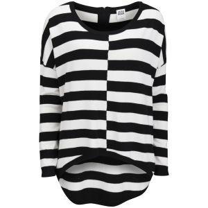 Vero Moda Women's Stripe Dip Hem Jumper - Black