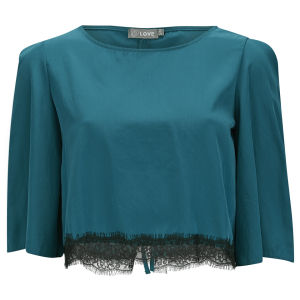 LOVE Women's Lace Edge Tie Back Crop Top - Blue