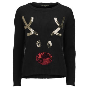 Love Knitwear Women's I LOVE RUDOLPH Christmas Jumper - Black
