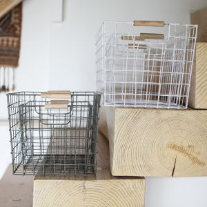 Nkuku Huma Wire Basket (Set of Two) - Distressed White - Large (26 x 43 x 28cm) & Small (21 x 36 x 23cm)