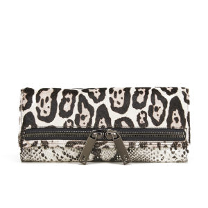 Ted Baker Large Exotic Leopard Zip Clutch Bag - Black
