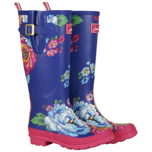 Joules Women's Printed Foral Wellies - Blue