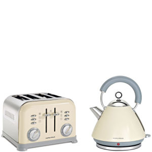 Morphy Richards 4 Slice Accents Toaster - Cream and Accents Traditional Kettle - Cream