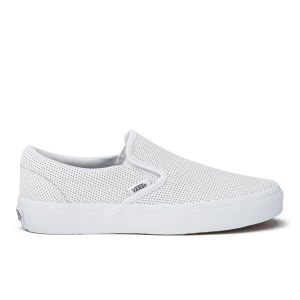 Vans Women's Classic Perforated Leather Slip-On Trainers - White
